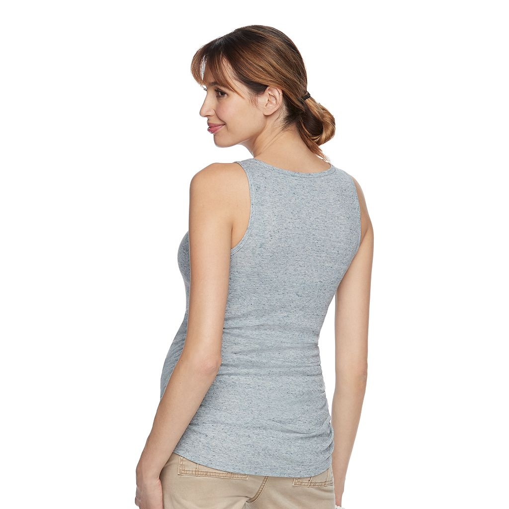 Maternity a:glow Blue Ruched Tank
