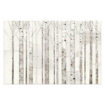 Artissimo Birch Trees On White Canvas Wall Art 3-piece Set