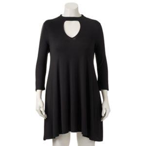 Juniors' Plus Size HeartSoul Cutout Mockneck Dress