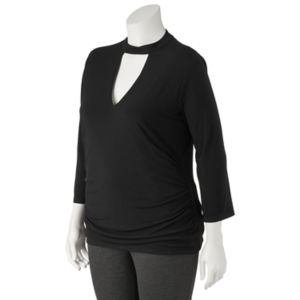 Juniors' Plus Size HeartSoul Cutout Mockneck Top