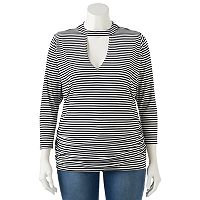 Juniors' Plus Size HeartSoul Striped Mockneck Cutout Top