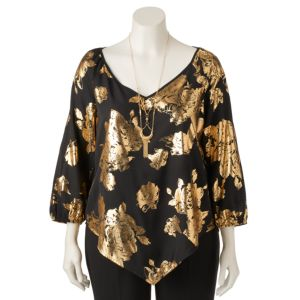 Juniors' Plus Size HeartSoul Foiled Floral V-Hem Top