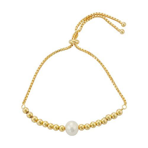 Sterling Silver Freshwater Cultured Pearl & Bead Bolo Bracelet