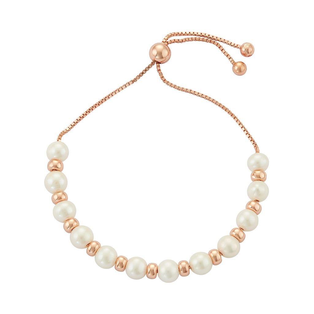 Sterling Silver Freshwater Cultured Pearl Bolo Bracelet