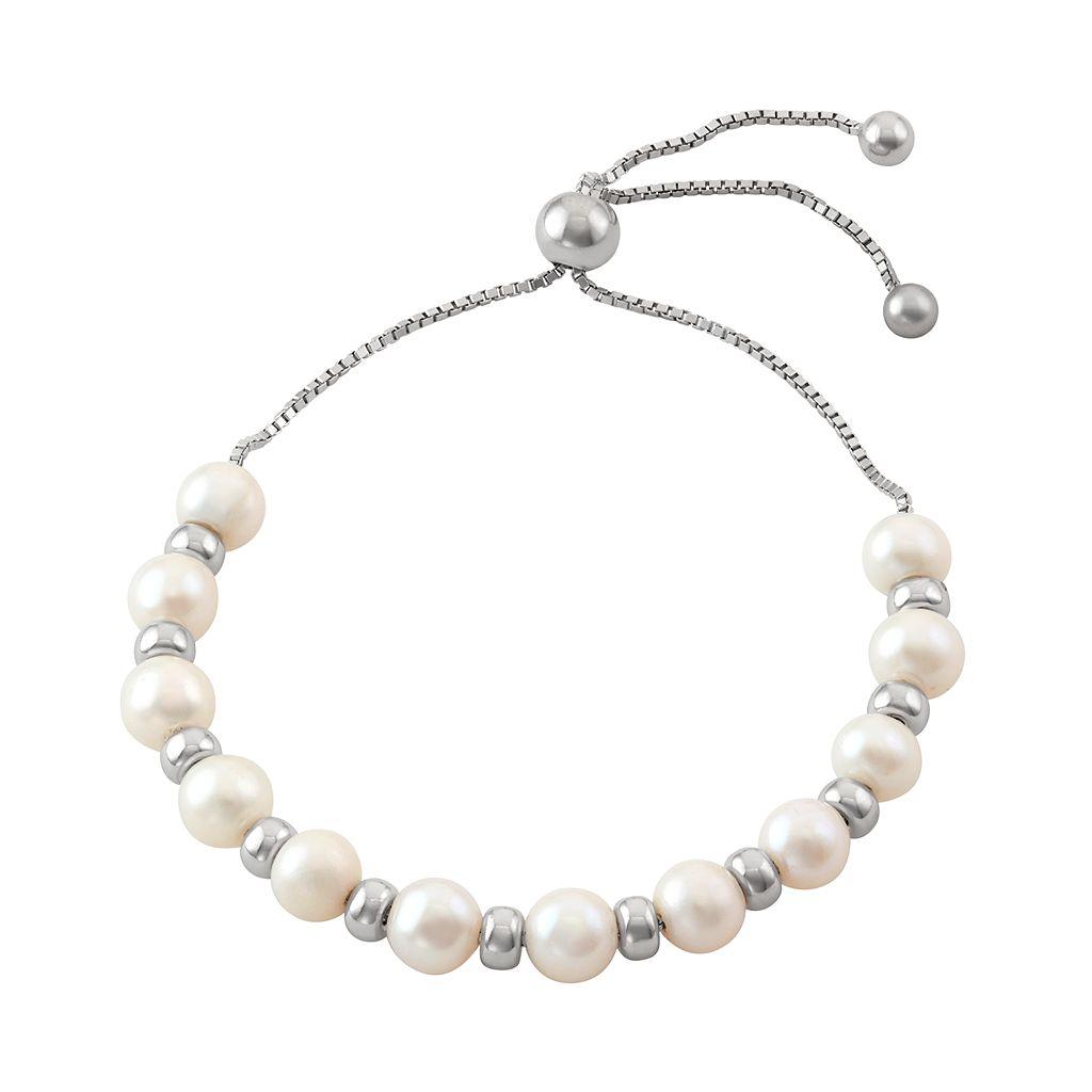 Sterling Silver Freshwater Cultured Pearl Bolo Bracelet