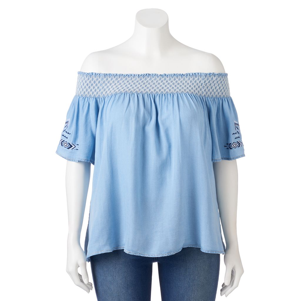 Juniors' Plus Size HeartSoul Chambray Off The Shoulder Top