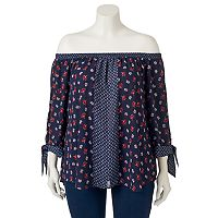 Juniors' Plus Size HeartSoul Print Off Shoulder Top