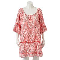 Juniors' Plus Size HeartSoul Print Bell Sleeve Shift Dress