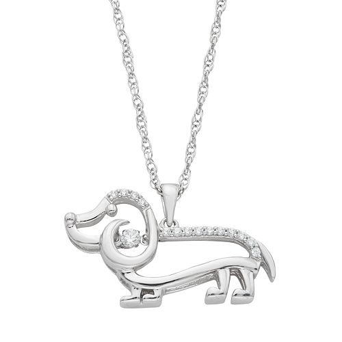 Dancing Love Sterling Silver 1/10 Carat T.W. Diamond Dog Pendant