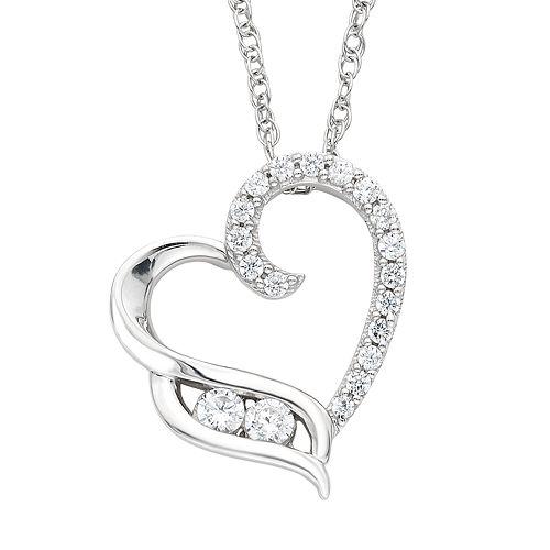 Sterling Silver 1/4 Carat T.W. Diamond 2-Stone Heart Pendant