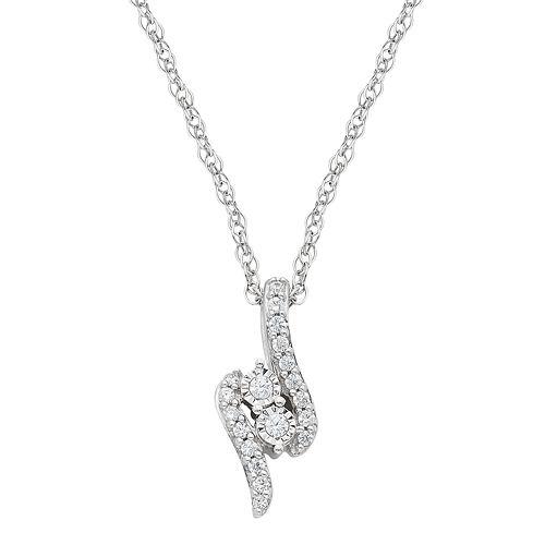 Sterling Silver 1/10 Carat T.W. Diamond 2-Stone Pendant