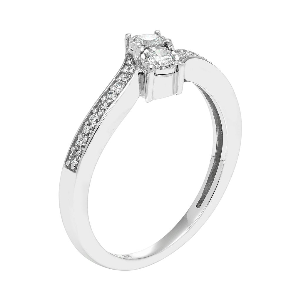 10k White Gold 1/4 Carat T.W. Diamond 2-Stone Ring