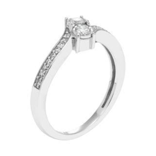 10k White Gold 1/4 Carat T.W. Diamond 2-Stone Ring