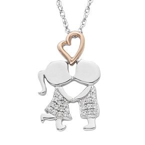 Charming Moments 10k Rose Gold Over Silver 1/10 Carat T.W. Diamond First Kiss Pendant Necklace