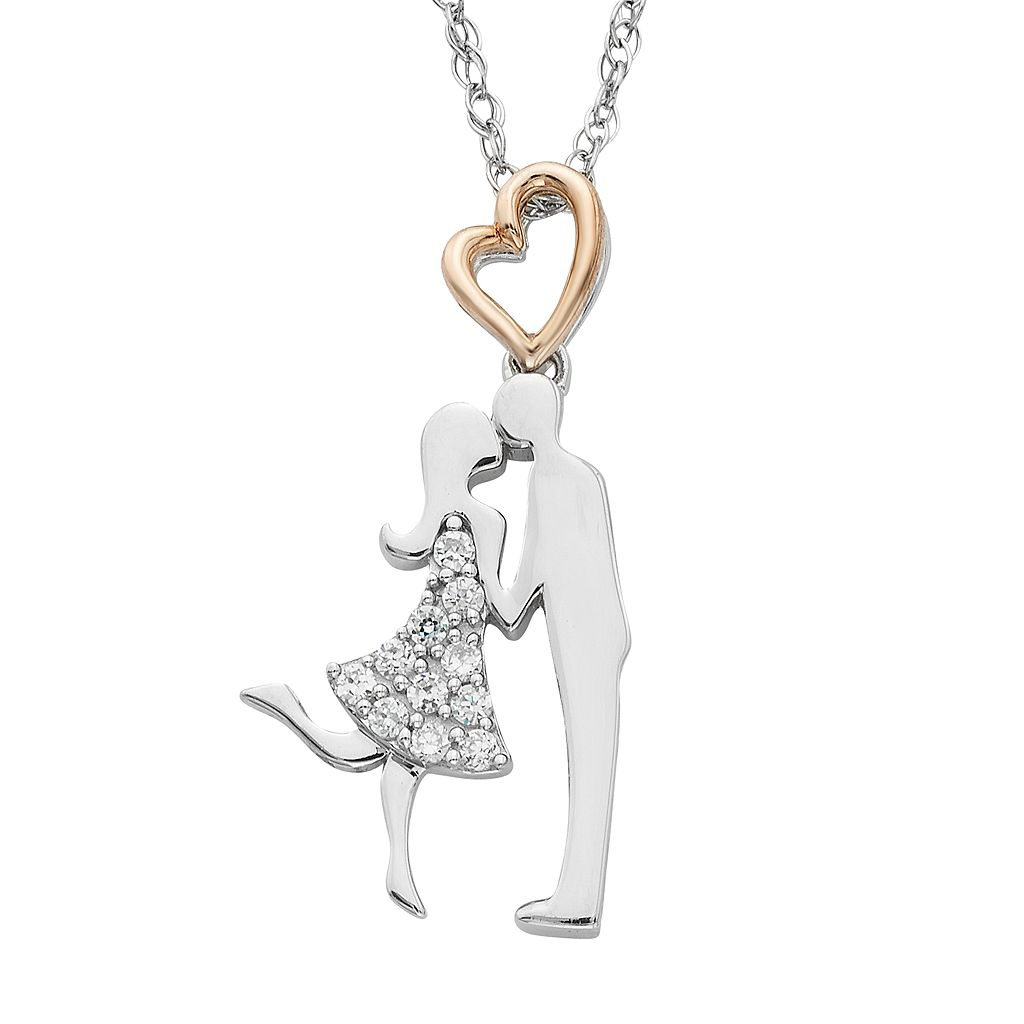 Charming Moments 10k Rose Gold Over Silver 1/10 Carat T.W. Diamond Kissing Couple Pendant Necklace