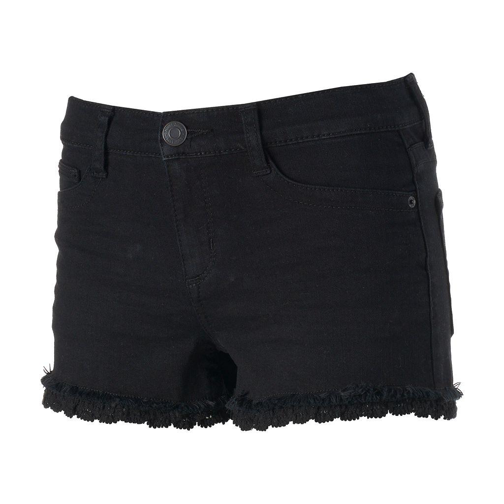 Juniors' Mudd® FLX Stretch Crochet Hem Shortie Shorts