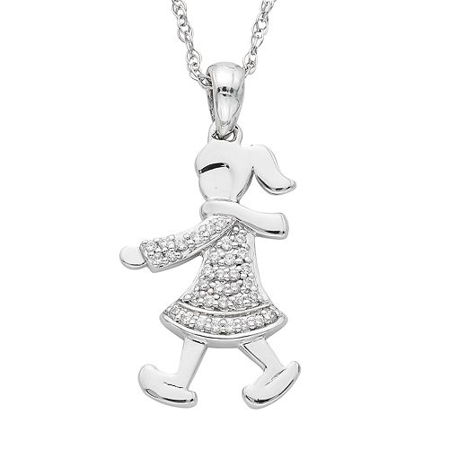 Charming Moments Sterling Silver 1/10 Carat T.W. Diamond Girl With Scarf Pendant Necklace