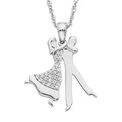 Charming Moments Sterling Silver 1/10 Carat T.W. Diamond Dance Pendant Necklace