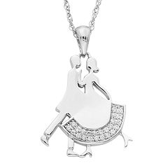 Charming Moments Sterling Silver 1/10 Carat T.W. Diamond Dancing Couple Pendant Necklace
