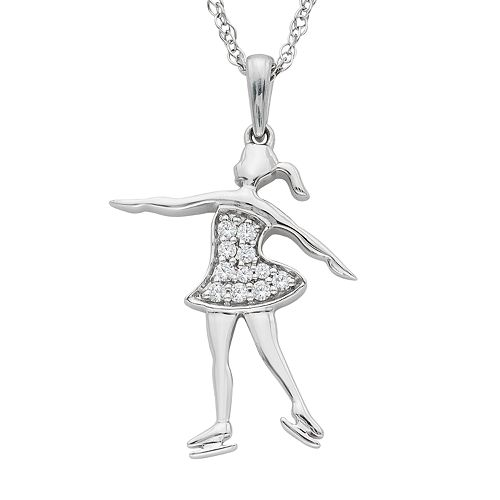 Charming Moments Sterling Silver 1/10 Carat T.W. Diamond Ice Skater Pendant Necklace