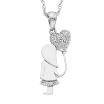 Charming Moments Sterling Silver 1/10 Carat T.W. Diamond Girl With Heart Balloon Necklace