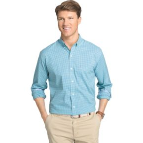 Men's IZOD Advantage Classic-Fit Gingham-Checked Stretch Button-Down Shirt
