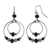Black Beaded Orbital Nickel Free Hoop Drop Earrings