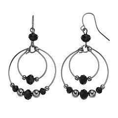 Black Beaded Orbital Nickel Free Hoop Drop Earrings