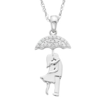 Charming Moments Sterling Silver 1/10 Carat T.W. Diamond Kissing Couple Under Umbrella Necklace