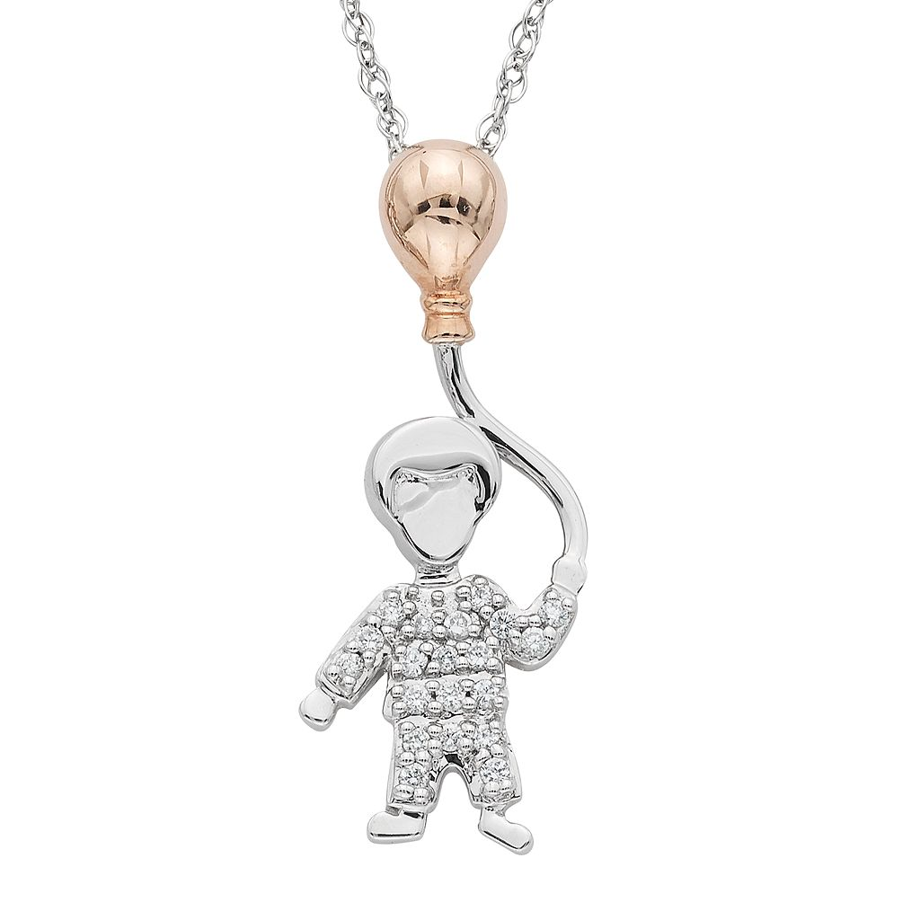 Charming Moments 10k Rose Gold Over Silver 1/10 Carat T.W. Diamond Boy With Balloon Pendant Necklace