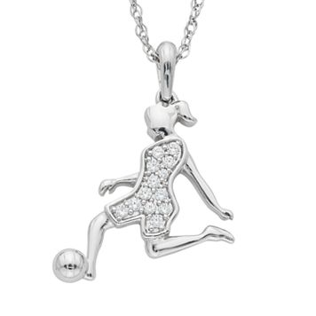 Charming Moments Sterling Silver 1/10 Carat T.W. Diamond Soccer Girl Pendant Necklace
