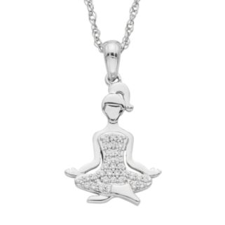Charming Moments Sterling Silver 1/10 Carat T.W. Diamond Meditation Pendant Necklace