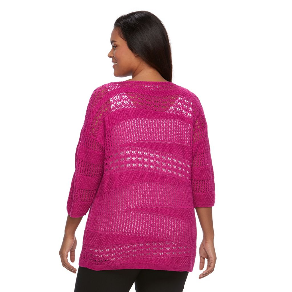Plus Size Dana Buchman Open-Work Dolman Sweater