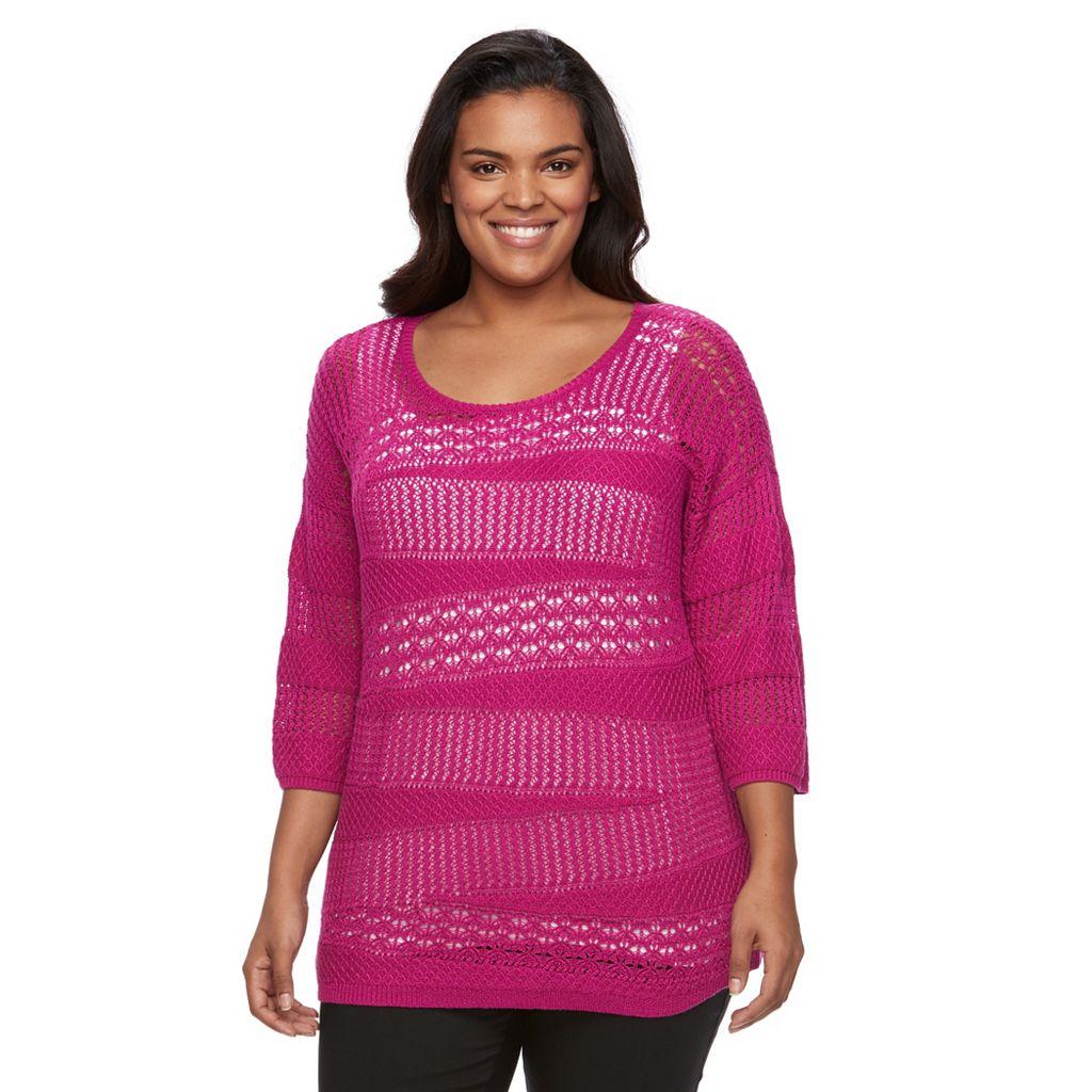 Plus Size Dana Buchman Open-Work Dolman Sweater