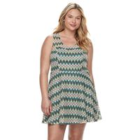 Juniors' Plus Size Candie's® Chevron Skater Dress