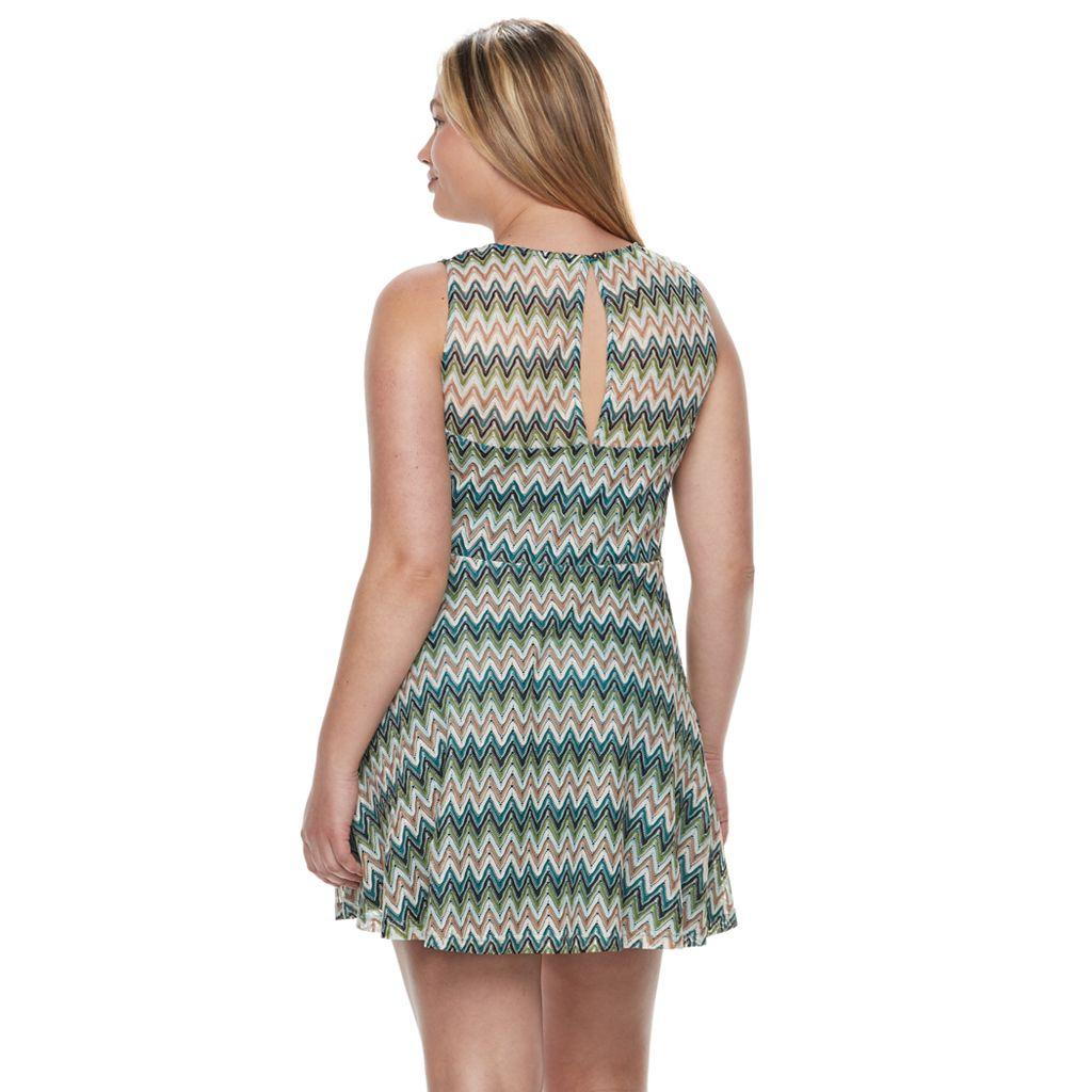 Juniors' Plus Size Candie's® Chevron Skater Dress