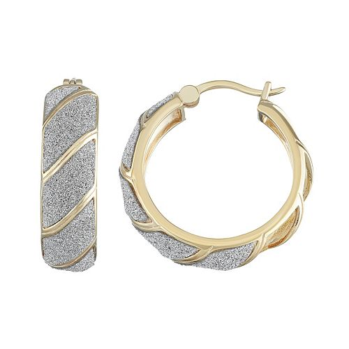 18k Gold Over Silver Glitter Striped Hoop Earrings