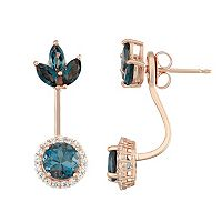 14k Rose Gold Over Silver London Blue Topaz & Lab-Created White Sapphire Jacket Earrings