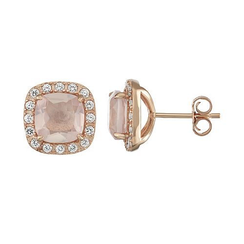 14k Rose Gold Over Silver Rose Quartz & Lab-Created White Sapphire Halo Stud Earrings
