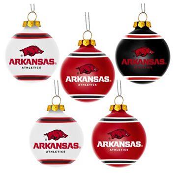 Forever Collectibles Arkansas Razorbacks 5-Pack Shatterproof Ball Ornaments