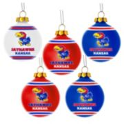Forever Collectibles Kansas Jayhawks 5-Pack Shatterproof Ball Ornaments