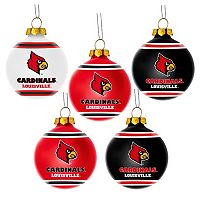 Forever Collectibles Louisville Cardinals 5-Pack Shatterproof Ball Ornaments