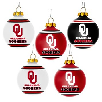 Forever Collectibles Oklahoma Sooners 5-Pack Shatterproof Ball Ornaments