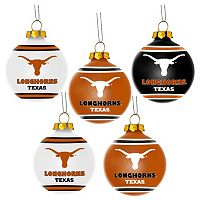 Forever Collectibles Texas Longhorns 5-Pack Shatterproof Ball Ornaments