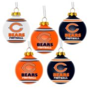 Forever Collectibles Chicago Bears 5-Pack Shatterproof Ball Ornaments