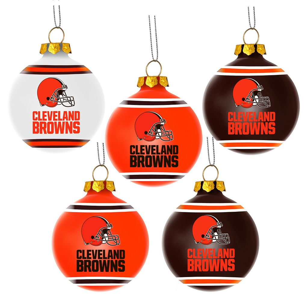 Forever Collectibles Cleveland Browns 5-Pack Shatterproof Ball Ornaments