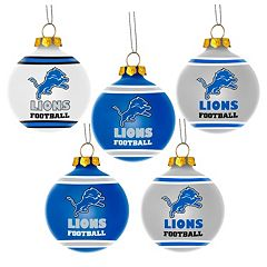 Forever Collectibles Detroit Lions 5-Pack Shatterproof Ball Ornaments