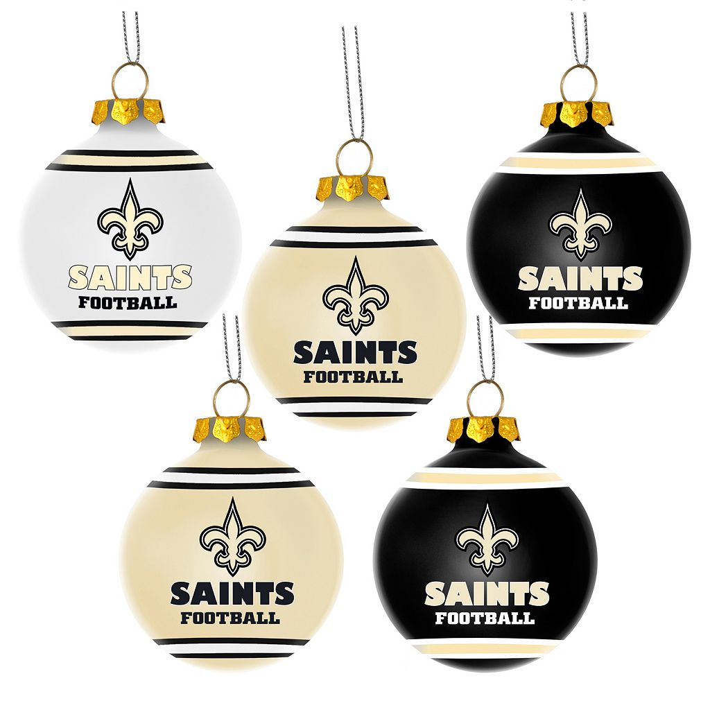 Forever Collectibles New Orleans Saints 5-Pack Shatterproof Ball Ornaments