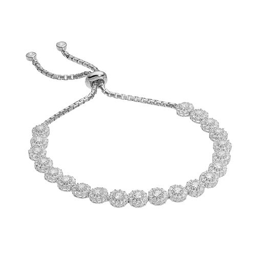Sterling Silver Cubic Zirconia Cluster Bolo Bracelet