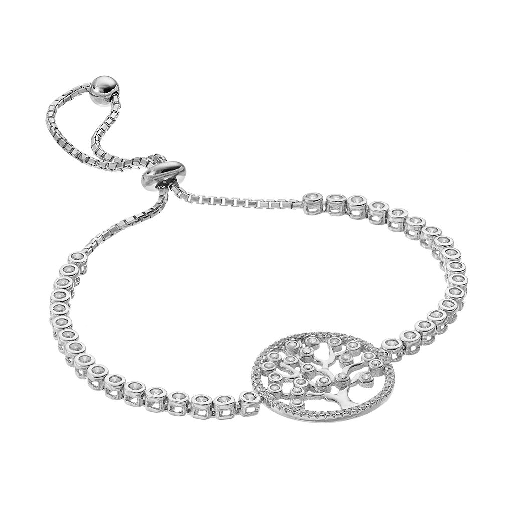 Sterling Silver Cubic Zirconia Tree of Life Bolo Bracelet